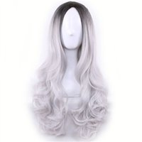 Wholesale cospaly wig for sale - Group buy Long Cheap Cospaly Wig Harajuku Lolita Wig Black Ombre Grey Body Wave Synthetic Hair Mix Color Wigs for Women Synthetic Wig