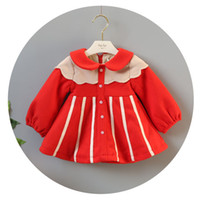 Wholesale Doll Hit - INS 3 styles new Girl kids winter long sleeve ruffles doll collar plaid Hit color design winter warm woolen dress girl thick elegant dress
