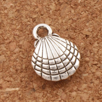 Wholesale Shell Pendant Charms - Shell Charm Beads 200pcs lot hot sell MIC 13.1x10mm Antique Silver Pendants Jewelry DIY L1175