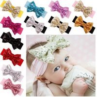 Wholesale Wholesale Sequin Headbands - 2015 New Posh Girls Headband ,Knit Cotton Girls Heaband ,Baby Hair Accessory With Sequins Big Bow ,Sequins Bow Baby Headwraps