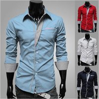 Wholesale Check Shirt Fashion Men - Fashion men stripe decoration long-sleeve personalized slim shirt Free shipping best brand checked dress shirts for men designer
