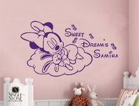 Wholesale Making Cartoon Movies - Personalised lovely Mouse Girls Wall Sticker DIY Vinyl Decal Customer-made Any Name Girl Room Decor