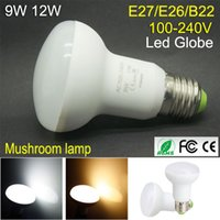 Qualité 9W 12W Ampoule LED lumière haute 100- 240V conduit lampe champignon E27 E26 B22 5730 SMD Super Bright Energy Saving conduit globe Spotlight Lighting