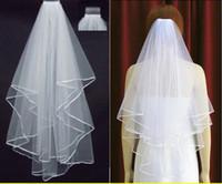 fildişi perde incileri toptan satış-Ücretsiz Kargo 2019 Beyaz Fildişi Gelin Veils 2 Katmanlar ile Tarak İnciler Şerit Kenar Tül Peçe Kilise Düğün Gelin için 11001 Stokta