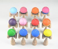 Wholesale Toy Sword Rubber - hot selling kendama 12color flexible paint 18.5cm skills ball Wood Toy Rubber paint Game ball sword jade ball