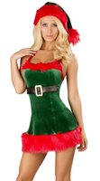Wholesale Green Elf Costume - 2014 New Cosply Wholesale Women's Lingerie Elf Dress with Deluxe Swan Feathers Christmas Costume Ennanna X1178