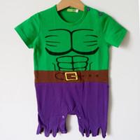 traje 2t mameluco al por mayor-Bebé de una sola pieza bebé mamelucos muchachos Green Hulk Romper Hero Costume Hulk Ropa Body Snap Suit Party