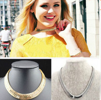Wholesale Chunky Snake Chain Necklace - Details about Women Punk Shiny Gold Silver Chunky Statement Thick Curb Chain Choker Necklace
