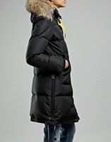 Wholesale Ladies Down Coats Hoods - Ladies Long parkas 724 Long Bear Coat Svart Kvinner hood with Detachable hood raccoon fur Norway Sweden
