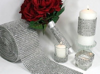 Wholesale Mesh Wrap Roll Sparkle Rhinestone - 4.75 Inch x 1 Yards Silver DIAMOND MESH WRAP ROLL SPARKLE RHINESTONE Crystal Ribbon party Wedding decoration free shipping