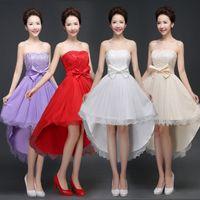 Wholesale Champagne After Dresses - 2016 women lace fashion dresses bridesmaid before short after long dress bridesmaids dress sisters host performance dresses