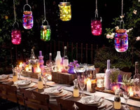 ingrosso luci stella a energia solare-natale led Solar Powered LED Mason Giare Light Up Lid 10 LED String Fairy Star Lights Vite sui coperchi per barattoli in vetro Mason Luci natalizie MYY