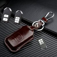 Wholesale plastic key holder case online - FOB Leather car key holder shell case for Honda vezel Crider Accord jade spirior cr v odyssey key wallet bag keychain