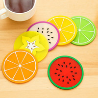 Wholesale PVC Coffee Cup Mat Fruits Shape Drink Coasters Placemats Fo Table Creative Non Slip Heat Insulation Tableware Mats JE0123 JE0123