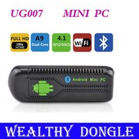 Оптовая Новые Bluetooth UG007 II Mini PC Android TV Dongle Dual Core Cortex A9 WiFi 1080P 1GB 8GB 3D UG007II Бесплатная доставка