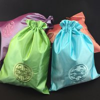 Wholesale Lucky Shoes Wholesale - Chinese style Ethnic Cloth Bags for Shoes Bag Travel Storage Pouch Handmade Embroidery Lucky Drawstring Satin Hair Extension Packaging Bags