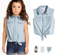 Neue Sommer-Mädchen-Set Kids Sleeveless Cotton Denim Tops Shirt + Jeans Shorts 2pcs Kleidung Anzug Kinder Outfits Sets