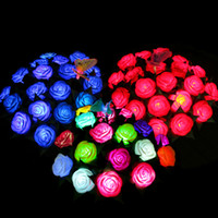 Wholesale Led Valentines Roses - Color LED Rose Flower Romantic Color Flash PVC Rose Never Fade Valentines Gift Wedding Party Decoration SD439