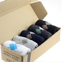 Wholesale Cheap Business Socks - Wholesale-Hot Sale Mens Sport Socks Men High Quality Rhombus Printing Basketball Sock 5Pair Lot Black White Cheap Business Socks Wholesale