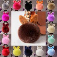 Wholesale Digital Ear - New Fluffy Bunny Toys Ear Keychain 18 Styles Rabbit Key Chain Fur Woman Bag Charms Keyring Pom Pom Car Pendant Key Rings D316Q