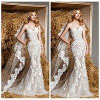 Wholesale Zuhair Murad Dresses Online - Sweetheart Lace Appliques Mermaid Wedding Dresses Zuhair Murad Fishtail Natural Slim Bridal Gowns Custom Online 2016 New Sexy Summer Dress