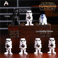 New Star Wars 7pcs / set 3,5 centímetros White Knight Preto Darth Wader Figuras de Ação Toy Figura Comples Modelo Brinquedos Educativos W135