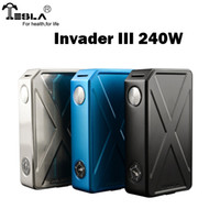 Wholesale E Cig Led - Original Tesla Invader III 240W Box Mod Dual 18650 Battery Invader3 Vape Mods E cig LED Display Fit Sub ohm Tanks RDA Atomizers