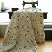 tejido de lino teñido de hilo al por mayor-Uso de bricolaje Lino Algodón tela textil para el hogar al por mayor - patrones de color negro hilado teñido