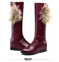 Wholesale Import Safety - Free Shipping 2017 winter new imported soft bark fur rubber wear high brimmed black female snow boots 8188