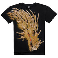 Wholesale Element T Shirt M - 3D Short Sleeves T-Shirt For Men 100% Cotton Chinese Elements Dragon Pattern 3D Casual Fashion Personality Tshirt HJC3DTX046