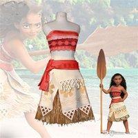 Wholesale Wig Yellow Short - 2017 Presents the Polynesian princess, mona cosplay costume Christmas carnival children's clothing, film mona,Yellow wig
