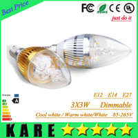 Wholesale 10pcs Dimmable led E14 E27 E12 W High Power Led Candle bulb led light lamp lighting chandelier bulbs light