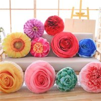 Wholesale kids flower pillow - 35cm Creative Removable Washable Simulation Flower Double-sided Printed Plush Pillow Toy Stuffed Sofa Cushions Kids Xmas Gift IA993
