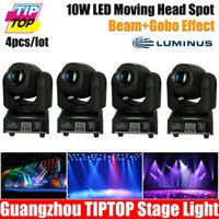 Atacado-4pcs / lot 10W Mini spot 10W Led Moving Head Com Gobo PlateColor Plate, alto brilho 10W Mini Led Movendo DMX512 Head Light