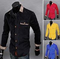 Wholesale Corduroy Shirt Dresses - New 2015 leopard print splicing Men Dress Shirts Easy Care Cotton Business long-sleeve slim casual Male shirt men's blouses