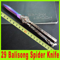 Wholesale Gear Cutting Tools - 201410 New 29 balisong spider butterfly knife Hunting Fighting Knives camping Utility outdoor gear knife cutting tool Christmas gift 450X