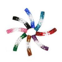 Wholesale Shamballa Curve Tube Bead - Wholesale-Free Shipping 45mmx9mm Two-Tone Colour Curved Clay Disco Rhinestone Pave Tube Shamballa Beads for DIY Shamballa Bracelet