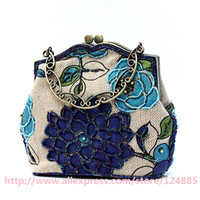 Wholesale Linen Evening Handbags - Wholesale-Hot 2015 Handmade Shoulder Bag Ladies' Linen Beaded tote Handbag Evening Bag Shopping Bag 20089