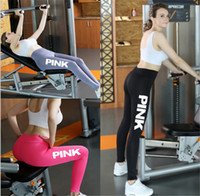 Wholesale cotton tights for women - Pink Letter Sports Pants Yogan Gym Leggings Running Tights Women Girls Fitness Love Pink Trousers for Ladies