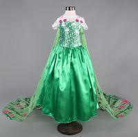 Wholesale Hot Mardi Gras Girl - 2017 Factory Made Hot Sale Cosplay Anna Elsa Dress Cartoon Party Long Dress Cosplay Costume, Green Snow dress Girls Clothes