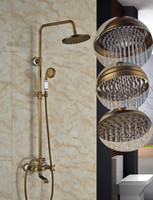 "Wholesale Antique Finish Shower Faucets - New Arrive Classic Wall Mounted 8"" Rain Shower & Handshower Shower Faucet Set Antique Brass Finished with Fast Shipping"