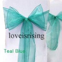 """Wholesale Teal Blue Organza Chair Sashes - New Arrivals--50pcs Teal Blue Color 8"""" (20cm) W x 108"""" (275cm) L Organza Chair Sashes Wedding Party Banquet Decor+Free Shipping"""