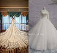 Wholesale Types Modern Dress Sleeves - 2015 autumn winters lace elements Handmade floral mop the floor a foot The type that wipe a bosom affordable wedding dress