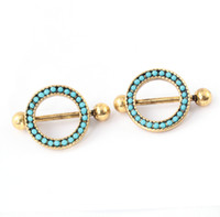Wholesale Sexy Pierced Ladies - Sexy Lady Jewelry Shields Nipple Body Jewelry Piercing Ring Antique Gold Plated New Design Unique Nipple Piercing Ring 10Pcs