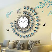 peacock creativa saln reloj de pared grande de cuarzo simple de la manera europea moderna relojes del reloj de silencio