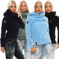 Wholesale Fleece Lined Hoodie Xl - Fashion plus size large size long sleeve knitted fleece lined epaulet solid color hoodie women casual comfort fleece active sweater