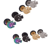 Wholesale Steel Ear Tapers - skull Fake Ear Plug Flesh Plugs cheater Tapers Stainless steel Fashion Ear Piercing Body Jewelry for Men woman