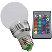 Wholesale E27 Bulbs Long - 3W GU10 E27 B22 E14 16 Colorful Changing with Wireless LED Light Bulb RGB LED Globe Aluminum Plastic Bulb IR Remote Control Long Life