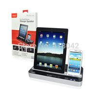Wholesale Docking Station Speaker Ipad - Wholesale-Multi-Functional Charger Dock Station + Stereo Speaker For iPad 2 Apple iPhone 3G 4G iPod free shipping