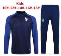 Wholesale Home Workouts - 2017 France home workout clothes 16 17 France kids GIGNAC BENZEMA Pogba GRIEZMANN boys Training Suit Shirt